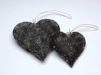 Srdce s ornamenty šedé