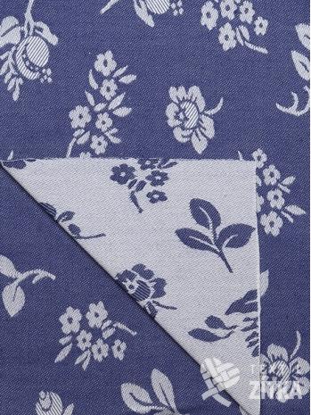 Žakár modrá kytka