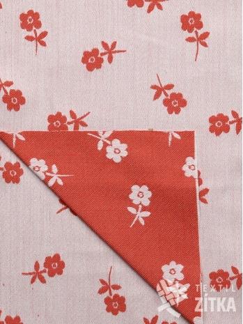 Žakár červená drobná kytička