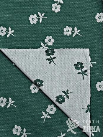 Žakár zelená kytička