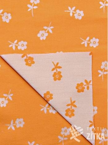 Žakár oranžová kytička