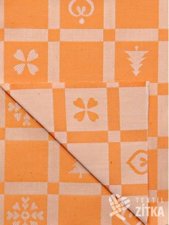 Žakár vánoční patchwork oranžový