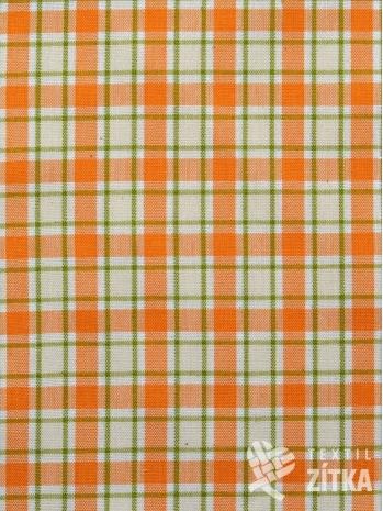 Žakár oranžovo zelinkavá kostička