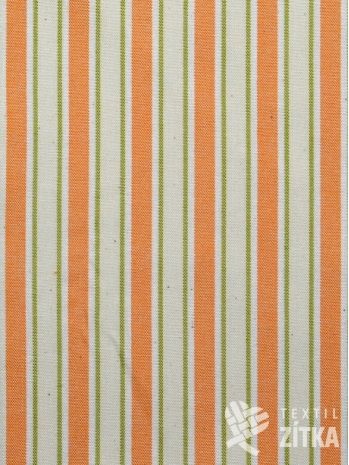 Žakár oranžovo zelinkavý proužek