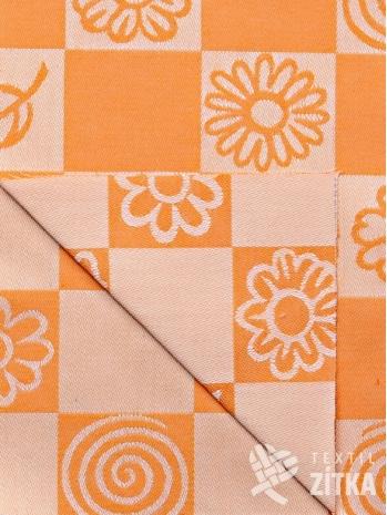 Žakár oranžové květiny