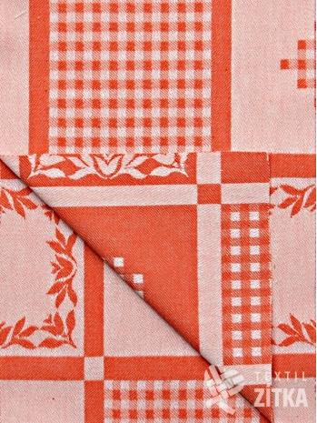 Žakár tmavě oranžový patchwork