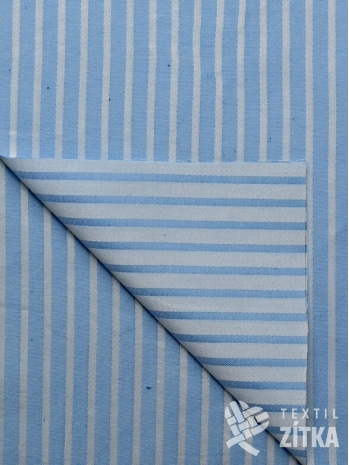 Žakár oboustranný světle modrý pruh
