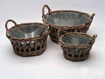 Košík z proutí a hliníku - set 3 ks