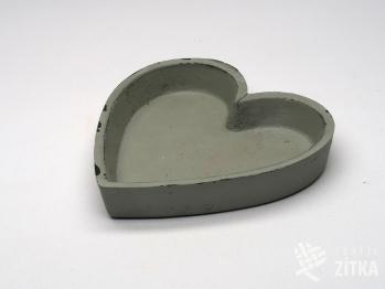 Podnos srdce malé - šedé