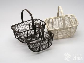 Košík drátěný hranatý - set 2 ks