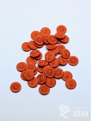 Nitěný knoflík oranžový 02