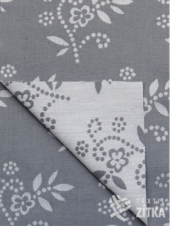 Žakár šedý bavlněný folklórní vzor
