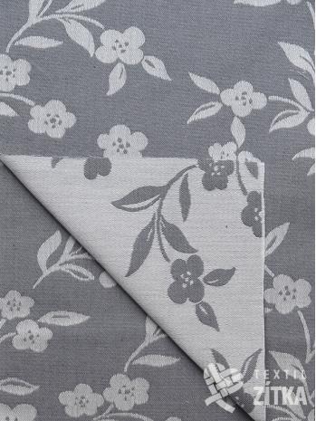 Žakár šedá bavlněná látka s květy