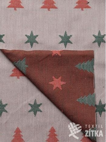 Bavlněná vánoční červeno zelená látka