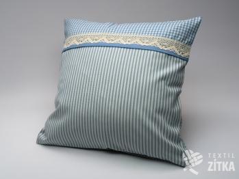 Polštářek kombinovaný 40 x 40 cm Piko 04 + Pruh 04 světle modrá
