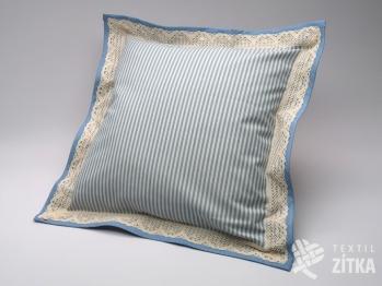 Polštářek obšitý 40 x 40 cm Pruh 04 světle modrá