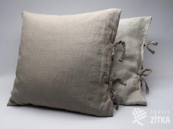 Lněný polštářek kombinovaný (na tkaničky) - přírodní