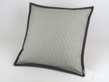 Polštářek 40 x 40 cm kanafas Pruh 04 šedá