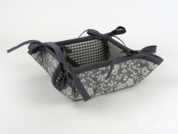 Košíček kanafas Piko 04 + žakár Sára 790 šedá