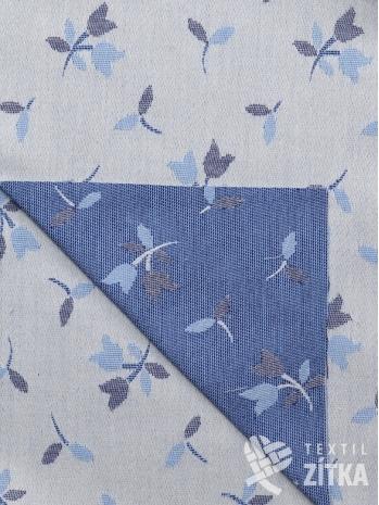 Žakár modro modrý tulipánek