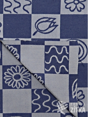 Žakár modré květy