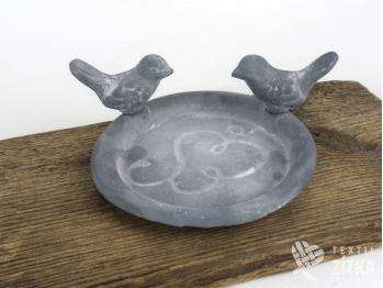 Krmítko miska s ptáčky - šedé