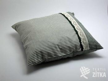 Polštářek kombinovaný 40 x 40 cm Piko 04 + Pruh 04 zelená