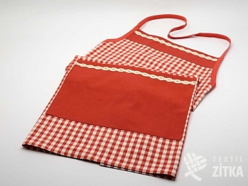 Zástěra s kapsou - Piko 07 + Uni červená - krajka