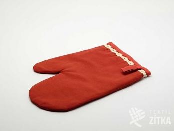 Chňapka - Uni červená - krajka