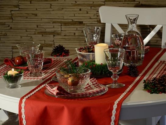 Vánoční kolekce červená s krajkou